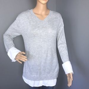 Apostrophe Long Sleeves Sweater Shirt M Gray White